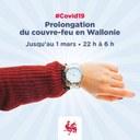 Le couvre-feu prolongé jusqu'au 1er mars en Wallonie