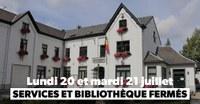 Les services communaux et la bibliothèque fermés les 20 et 21 juillet